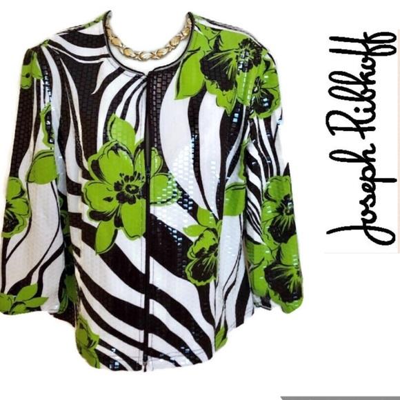Joseph Ribkoff Jackets & Blazers - Green White Jacket Joseph Ribkoff Gorgeous
